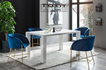 Set masa dreptunghiulara din MDF alba cu 4 scaune din catifea albastre 160x90 cm