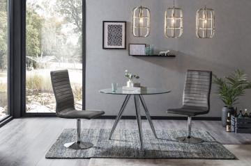 Set masa rotunda cu blat din sticla si 4 scaune din catifea gri 100 cm