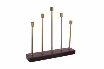 Suport lumanare din fier cu 5 brate Art Deco, bordo / auriu