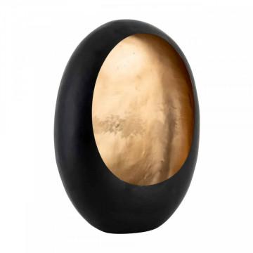 Suport lumanare din metal Roann, gold/negru