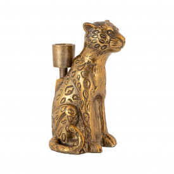 Suport lumanare leopard din metal Lyle, gold