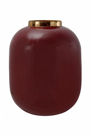 Vaza din fier Art Deco, bordo / auriu 16,5x16,5x20 cm