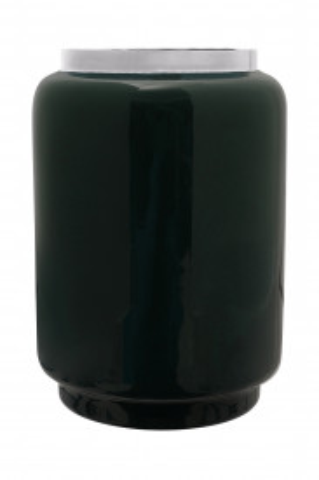 Vaza din fier Art Deco, verde inchis / argintiu 14,5x14,5x20 cm