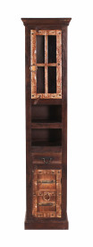 Vitrina din lemn reciclat Almirah 44x35x188 cm maro