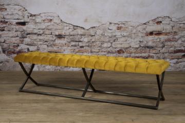Bancheta Bolton din catifea/galben mustar