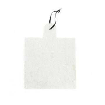 Blat pentru servire patrat din marmura CB2, alb, 25 cm