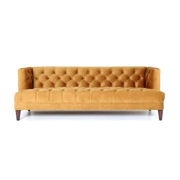 Canapea din catifea Caro, 3 locuri, galben
