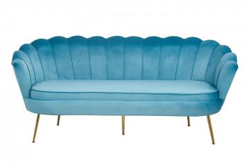 Canapea din catifea Shell albastra, 3 locuri