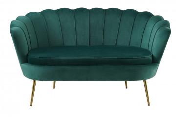 Canapea din catifea Shell verde, 2 locuri