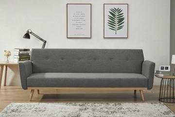 Canapea extensibila tapitata gri, 3 locuri