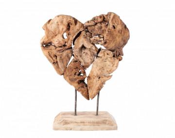 Decoratiune inima din lemn Sagita, natural