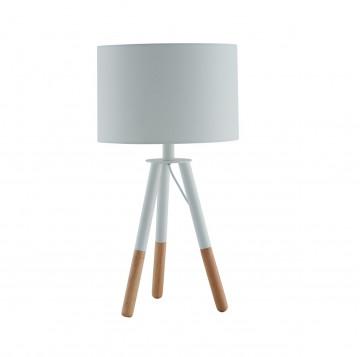 Lampa de birou din lemn/tesatura 55 cm alb
