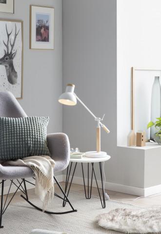 Lampa de birou reglabila din metal/lemn 42 cm, alba
