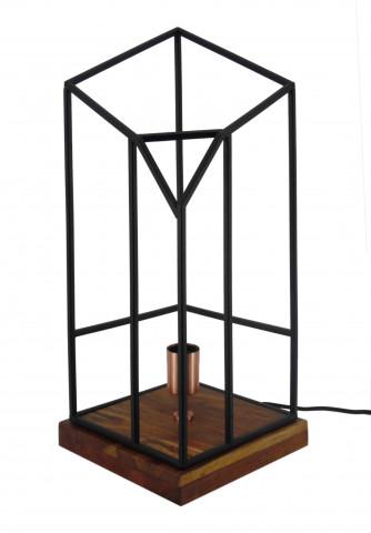 Lampa decorativa din fier si lemn, negru/maro, un bec