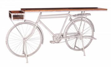Masa de bar din lemn si metal This&That 190x41x95 cm alba