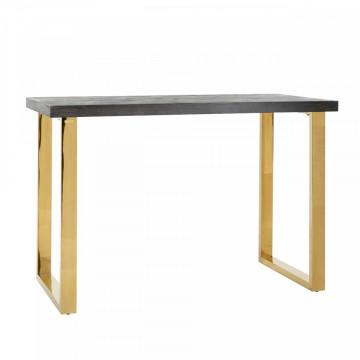 Masa de bar dreptunghiulara din lemn de stejar Blackbone 105x160x80 cm gri/auriu