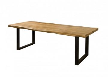 Masa dreptunghiulara cu blat din lemn de mango 220x100x77 cm maro/negru