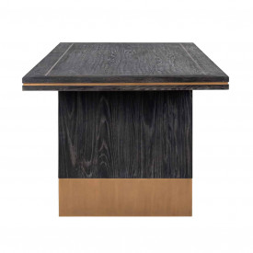Masa dreptunghiulara cu blat din lemn de stejar Hunter 78 x 220 x 100 cm neagra/maro