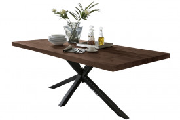 Masa dreptunghiulara cu blat din lemn de stejar Tables & Benches 180 x 100 x 76,5 cm maro inchis/neagra