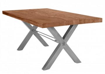 Masa dreptunghiulara cu blat din lemn de stejar Tables & Benches 200 x 100 x 76 cm maro/argintiu