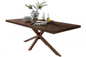 Masa dreptunghiulara cu blat din lemn de stejar Tables & Benches 200 x 100 x 76,5 cm maro inchis