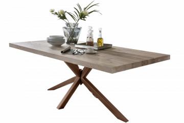 Masa dreptunghiulara cu blat din lemn de stejar Tables & Benches 220 x 100 x 76,5 cm maro deschis/maro inchis