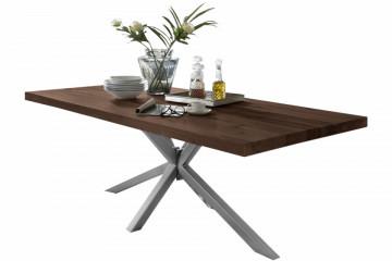 Masa dreptunghiulara cu blat din lemn de stejar Tables & Benches 220 x 100 x 76,5 cm maro inchis/argintiu