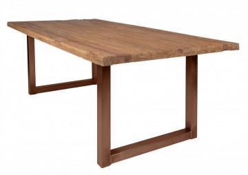 Masa dreptunghiulara cu blat din lemn de tec reciclat Tables & Benches 240 x 100 x 76 cm maro deschis/maro inchis