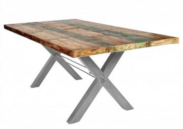 Masa dreptunghiulara cu blat din lemn de tec reciclat Tables & Benches 240x100x76,5 cm multicolor/argintiu