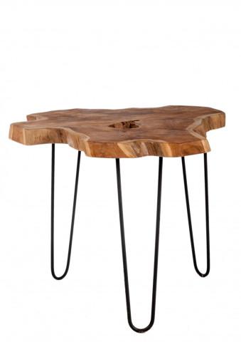Masuta de cafea cu forma neregulata din lemn de tec Romanteaka 55x55x48 cm maro/negru