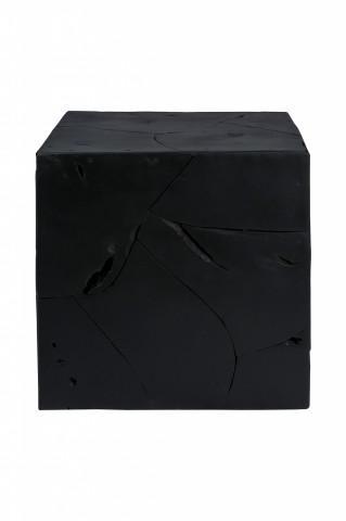 Masuta de cafea patrata din lemn de tec Radix 45 cm neagra