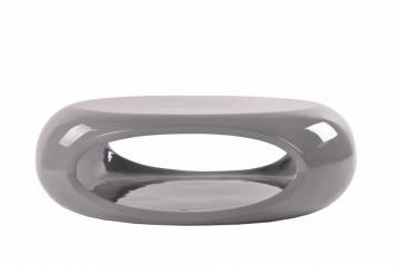 Masuta de cafea rotunda din fibra de sticla cu spatiu de depozitare 109x59x34 cm gri