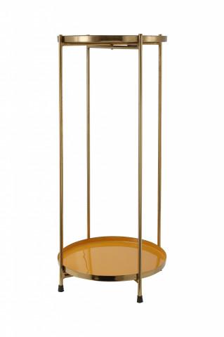 Masuta de cafea rotunda din fier 25x25x60 galben / auriu