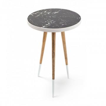 Masuta de cafea rotunda din lemn si metal Mary 40,5x40,5x61,5 cm alb/negru/maro