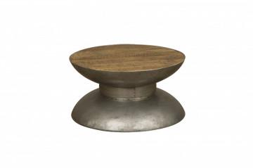 Masuta de cafea rotunda din lemn si metal Yo Yo 60x60x32 cm maro/argintiu