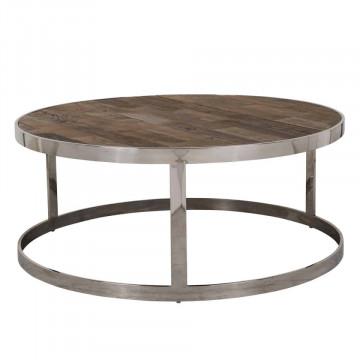 Masuta de cafea rotunda din lemn si otel Maddox 40x95x95 cm maro