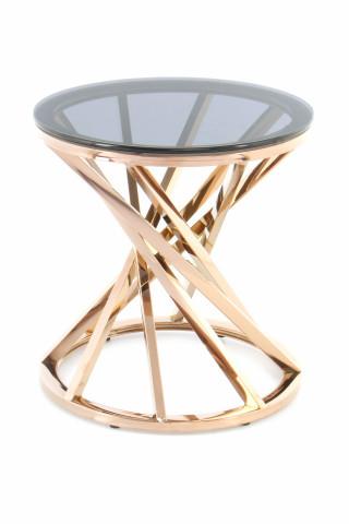Masuta de cafea rotunda din sticla Wesley 50x50x55 cm gri/auriu