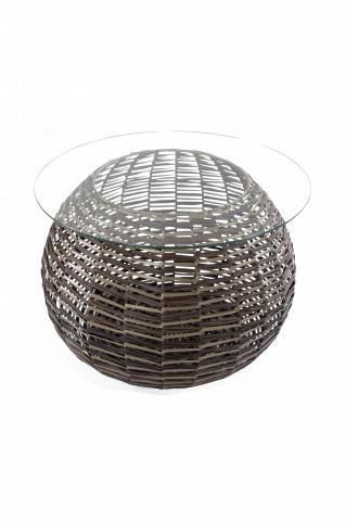 Masuta de exterior rotunda din sticla 36x62x45 cm maro inchis