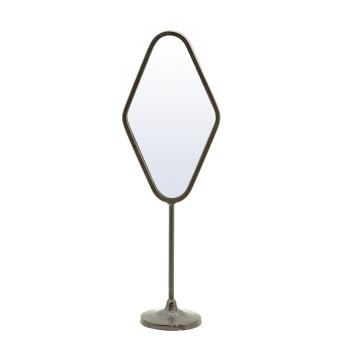 Oglinda cu picior cu rama din fier Vanity two, 14 x 9 x 43 cm