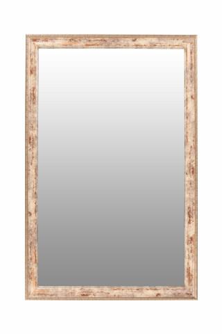 Oglinda dreptunghiulara cu rama din polistiren alba/maro/aurie Gilbert, 57,5cm (L) x 37,5cm (W) x 1,6cm (H)