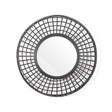 Oglinda rotunda cu rama din bambus neagra Oracle, 81 x 81 x 9 cm
