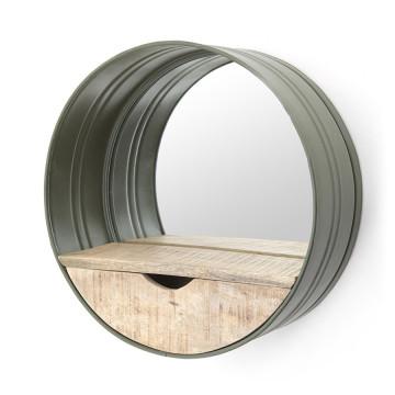 Oglinda rotunda cu rama din fier maro, cu raft din lemn, 40 x 40 x 15 cm