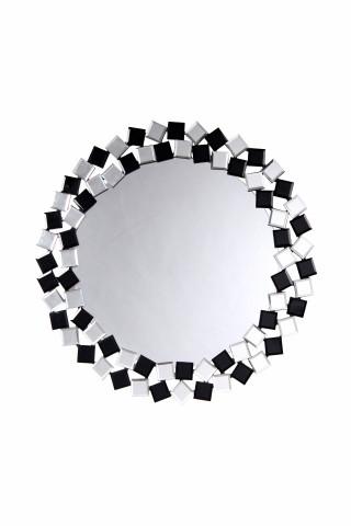 Oglinda rotunda Mosaic Argintiu / Negru,