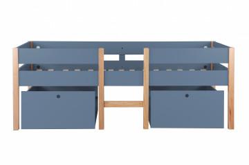 Pat mansardat pentru copii cu scara si sertare din MDF si pin albastru 210x99x80 cm
