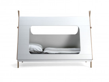 Pat pentru copii in forma de cort din pin/MDF alb, 105x215x165 cm