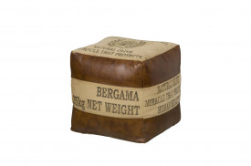 Puf sub forma de cub din piele artificiala Renew maro/bej