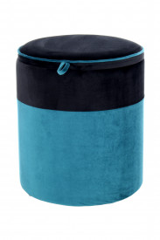 Puf/ Taburet tapitat cu spatiu pentru depozitare Kassandra negru / albastru
