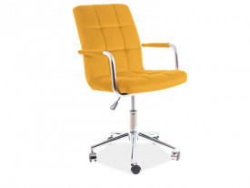 Scaun de birou din catifea galben