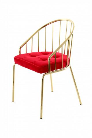 Scaun din metal si catifea Palma roșu / auriu