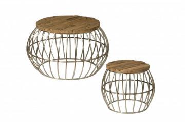 Set 2 masute de cafea rotunde din lemn 80x80x50 cm maro